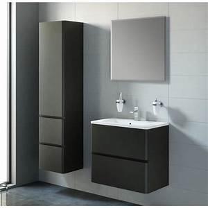 ensemble meuble salle de bain noir achat vente With meuble salle de bain noir laqué pas cher