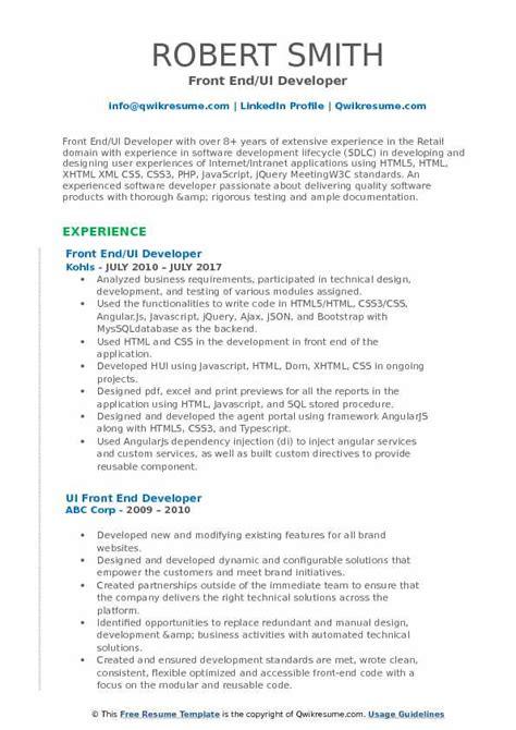 front end ui developer resume sles qwikresume
