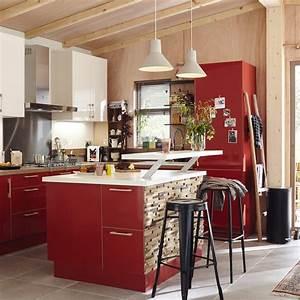 Meuble Cuisine Leroy Merlin : meuble de cuisine rouge delinia grenade leroy merlin ~ Melissatoandfro.com Idées de Décoration