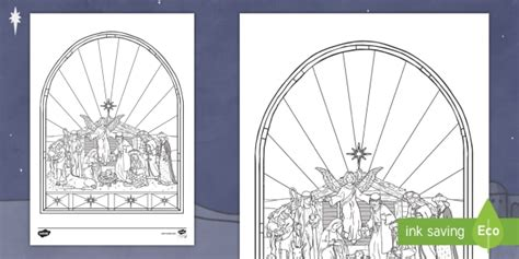 nativity stained glass window worksheet activity sheet