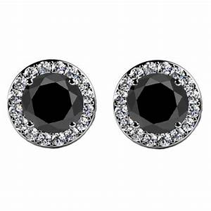 4.00 ct Round Cut Black Diamond Studs Earrings With Side ...
