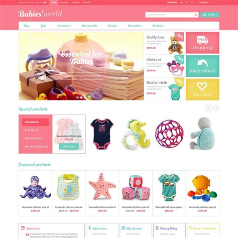 toy store sign template prestashop baby apparel online template et babies