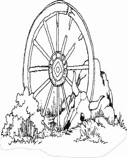 Wagon Coloring Wheel Pages West Western Clipart