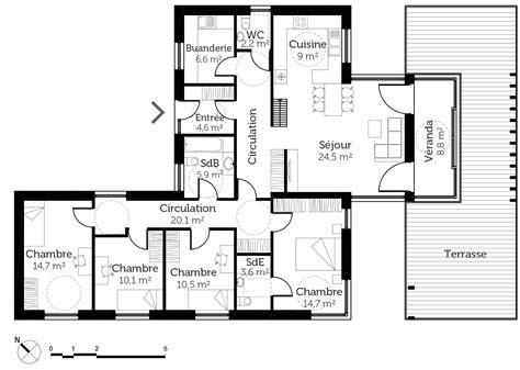 plan de maison de plain pied avec 4 chambres plan maison plain pied avec toit terrasse ooreka