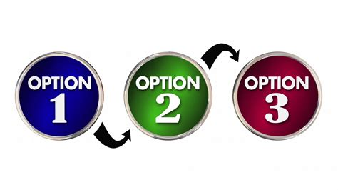 Options 1 2 3 One Two Three Choice Best Decision 3d