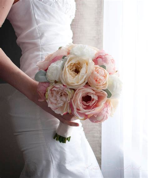 Peach Ivory And Blush Peony And Garden Rose Wedding Bouquet