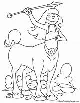Coloring Centaur Spear Throwing sketch template