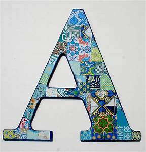 Decorative letter a collaged wall decor a nursery blue for Abc wooden wall letters