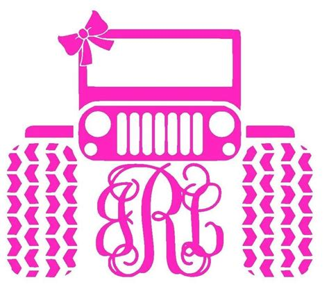 jeep stickers for girls monogram initials jeep girls pink vinyl sticker decal for