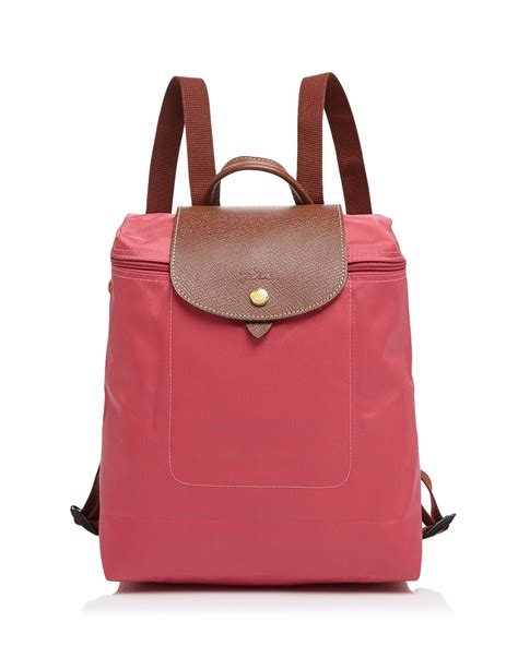 longchamp backpack le pliage  pink malabar lyst