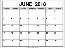 Calendar For June 2018 Free Printable Blank Calendar
