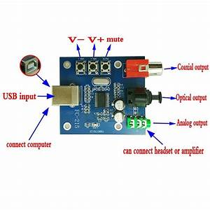 Pcm2704 Usb Dac To S  Pdif Sound Card Decoder Board 3 5mm Analog Output F  Pc Board Free Shipping