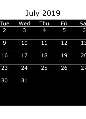 printable monthly calendar  july week day starts