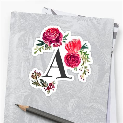 floral monogram watercolor sticker  saraloone redbubble