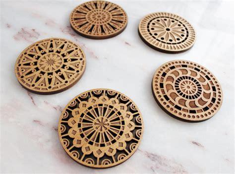 Geometric Wood Cut Coasters // Laser Cut Adler by