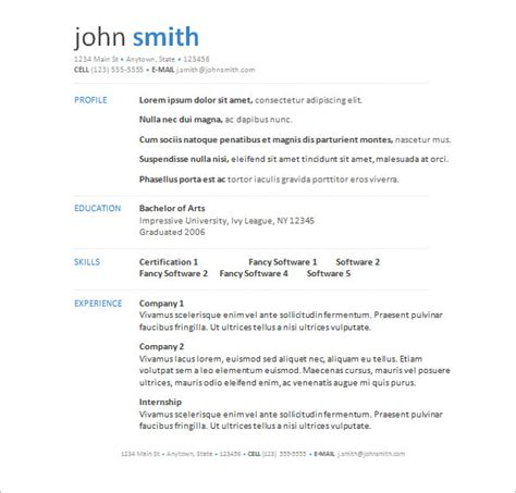 Free Cv Template Word by Free Resume Templates Word Cyberuse