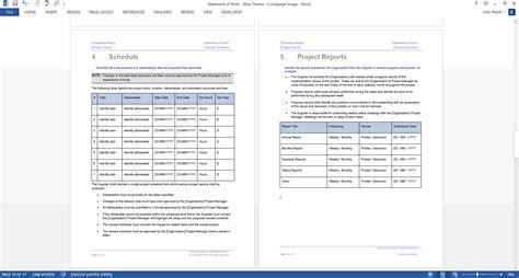 statement  work template ms wordexcel templates