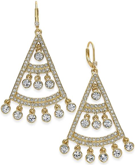 kate spade gold tone chandelier earrings in white