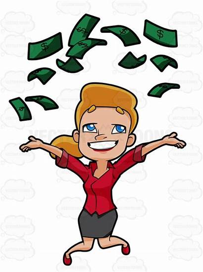 Money Clipart Raining Woman Air Into Clipartmag