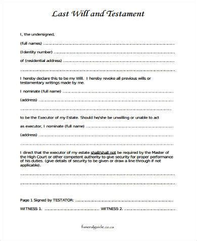 Sample Last Will And Testament Forms