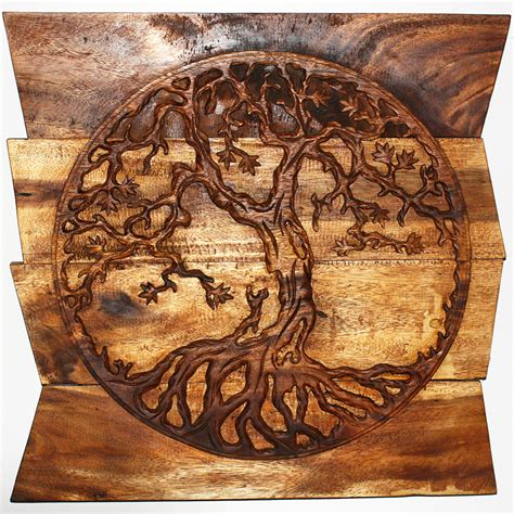 tree wall decor wood wall decor tree of carved wood panels in a