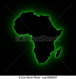 Drawings of Africa map in green light - High resolution