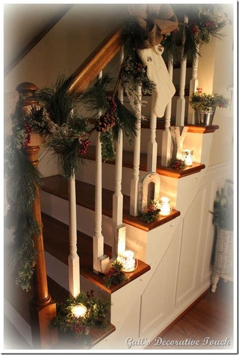 ideas  christmas staircase  pinterest