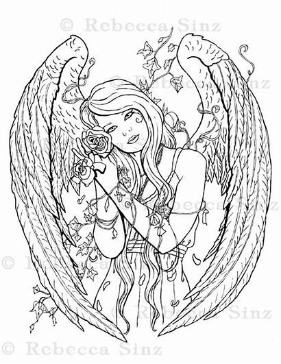 Coloring Angel Printable Gothic Fairy Sheets Fantasy