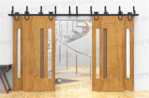 horseshoe bypass sliding barn wood closet door rustic