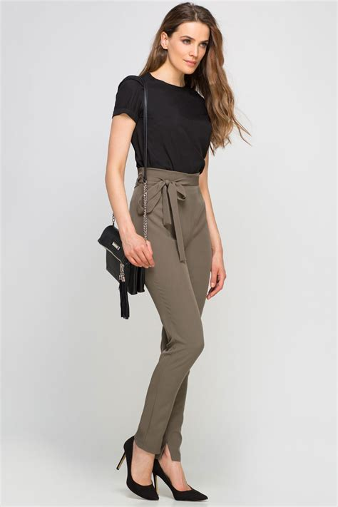 le bureau pince pantalon taille haute ceinture à nouer casual chic