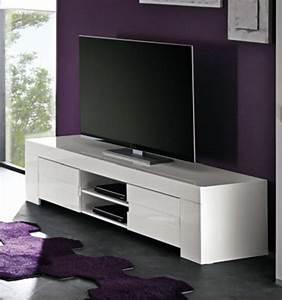 Meuble Tv Led Blanc Laqué : meuble tv messina laque blancl 191 x h 45 x p 50 ~ Teatrodelosmanantiales.com Idées de Décoration
