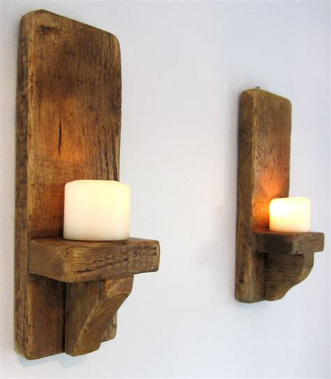 candle holder wall sconces pair of 39cm rustic solid wood handmade shabby chic wall