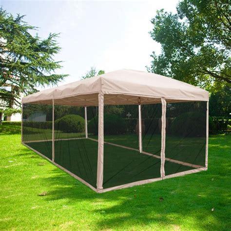 quictent  ez tan pop  canopy  netting gazebo mesh side wall roller bag included tan