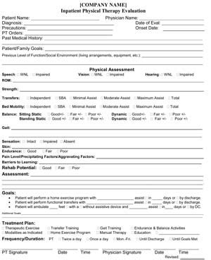 Tmj Physical Therapy Evaluation Template by Physical Therapy Shoulder Evaluation Form Pdf About