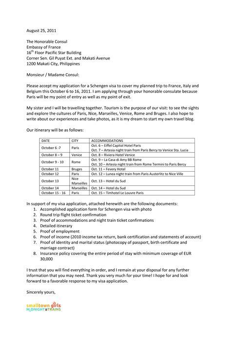 sample cover letter  schengen visa application