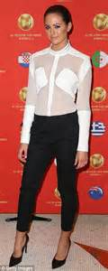 Jesinta Campbell wears sheer shirt at celebrity table ...