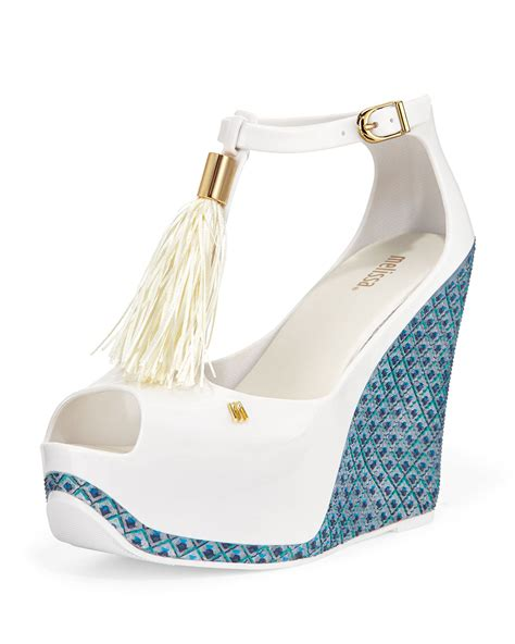 lyst melissa peace peep toe jelly wedge  white