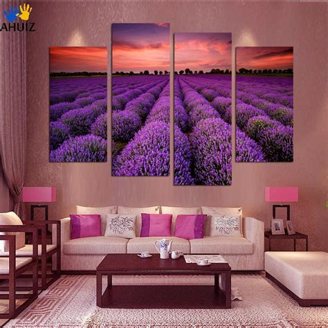 A part of hearst digital media elle decor participates in various affiliate marketing programs, which. 4 Piece Free Shipping Modern Wall Art Home Decoration Purple Lavender Large Living Room Oil ...