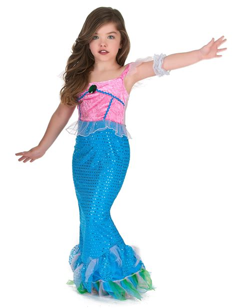 Costume da sirena di colore rosa e azzurro per bambina su
