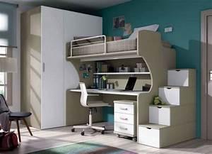 Kinderzimmer Mit Schreibtisch : modernes kinderzimmer junge platzsparende m bel beige wei ~ Michelbontemps.com Haus und Dekorationen