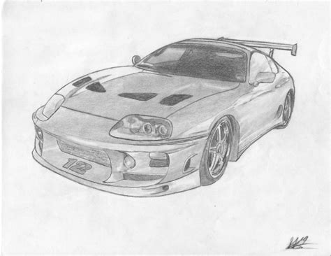 Pencil And In Color Drawn Vehicle Supra
