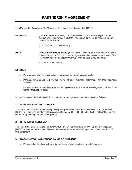 Partnership Agreement Short Form - Template & Sample Form