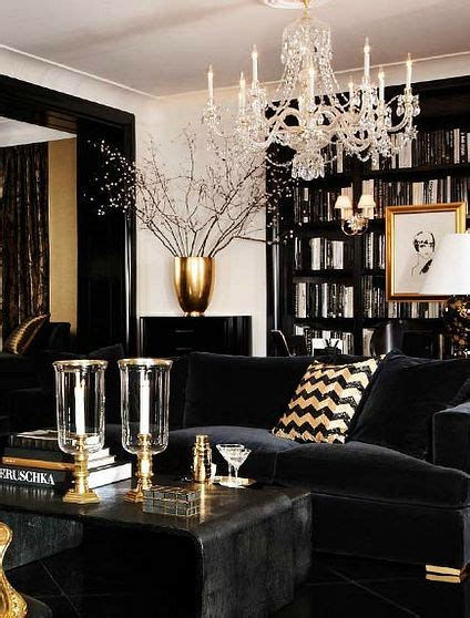 black white  gold color scheme interiors