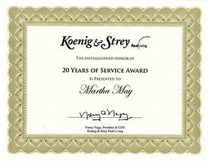 20 year service award quotes quotesgram With years of service award certificate templates