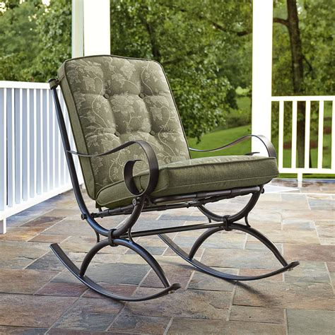 jaclyn smith cora single rocking chair green outdoor
