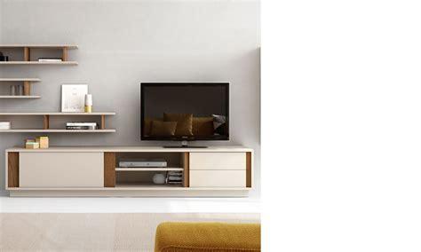 meuble tele scandinave beige laque  couleur bois fonce cagne
