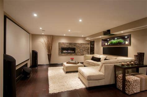 Modern Media Room Basement-contemporary-basement