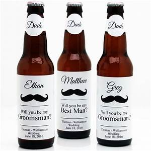 Mustache groomsmen personalized beer bottle labels 6 for Groomsmen beer labels