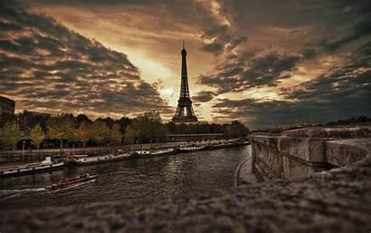 Paris Sunset Eiffel Tower France Overcast River