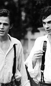 noir et blanc, Damon Salvatore, gars, chauds, Ian ...